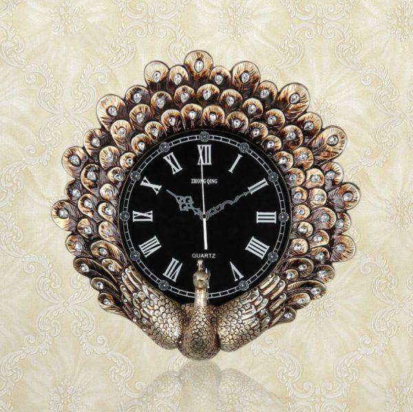 """Đồng hồ treo tường 3d tạo hình""""Công Xòe Cánh"""" DZ1068N-1050"""