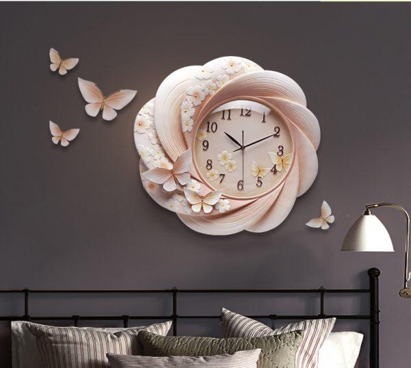 Đồng hồ treo tường trang trí Hoa và Bướm ZB027A