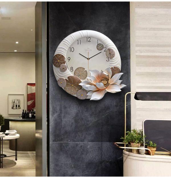 Đồng hồ treo tường trang trí tạo hình Hoa Sen ZB02A
